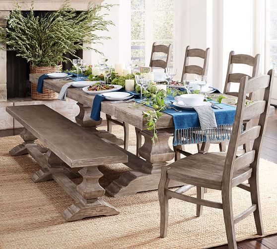 Banks Extending Rectangular Dining Table Large Alfresco Brown Finish At Pottery Barn Dining Furniture Kitchen Tables Ukrashenie Stolovoj Obedennyj Stol Stulya I Idei Dlya Ukrasheniya