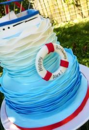 Beach/nautical cake White, blue and light blue ombre