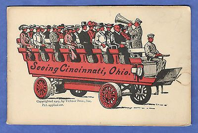 Ohio See Cincinnati Open Air Bus 24 Accordion Style Views Folding Postcard 1907 -- Antique Price Guide Details Page