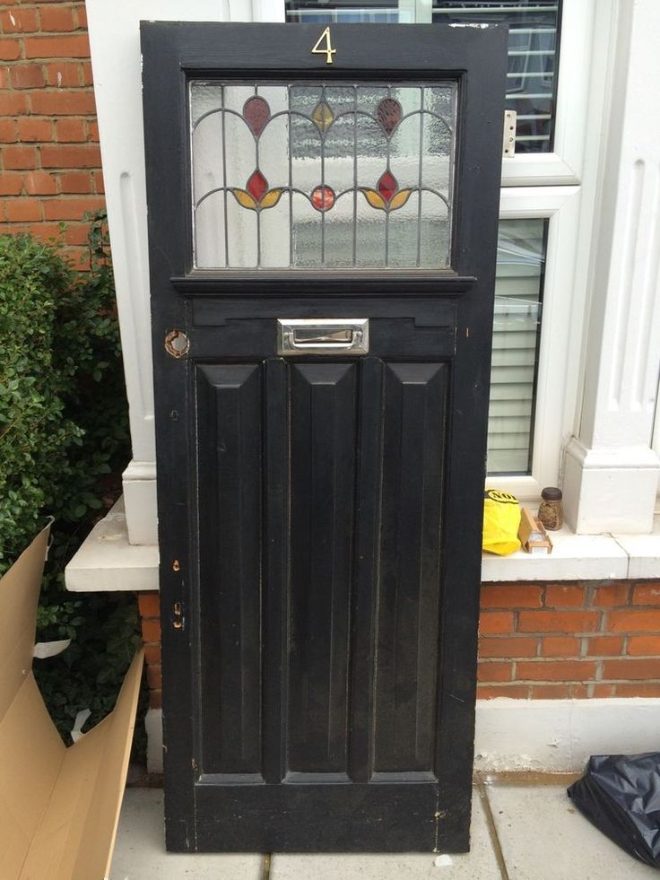 1930s FRONT DOOR EDWARDIAN STAINED GLASS MATCHING WINDOWS ART DECO LONDON