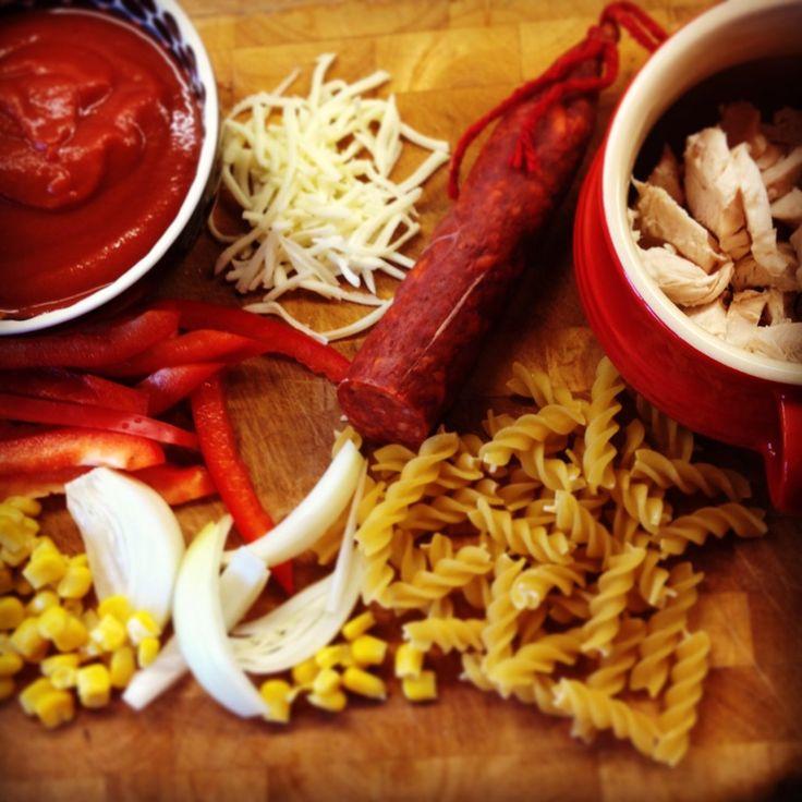 Chorizo and chicken pasta bake