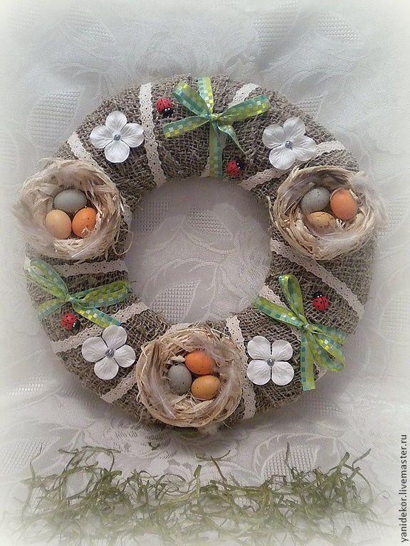 Купить Венок пасхальный С Гнездами - Пасха, пасхальный декор, пасхальный сувенир, пасхальный подарок