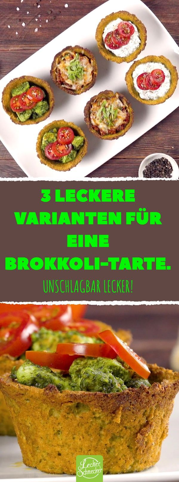 Ekelst du dich auch vor diesem Gemüse? Dabei ist es so zubereitet wirklich ein Genuss. 3 leckere Varianten für eine Brokkoli-Tarte. #rezepte #brokkoli #mini #tarte #ricotta #bolognese #pesto