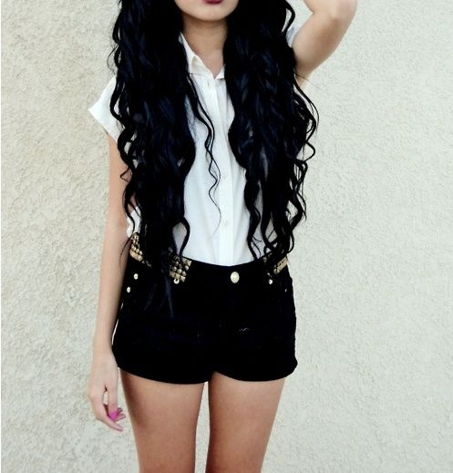 black with blue tint hair...the length!!!!! This will be my hair in a few months ;)