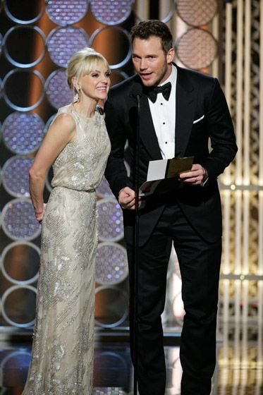 """Cutest couple EVER. Husband and wife Chris Pratt and Anna Faris had the room in fits of laughter while presenting. Faris told the crowd, """"I'm CBS and he's NBC,"""" while Pratt added, """"But we plan to raise our children HBO."""" - US Weekly"""