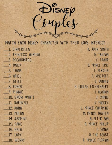 Disney Love Quotes Bridal Shower Games . Disney Bridal Shower Games . Wedding Shower Games . Bachelorette Party Night . Rustic . Download
