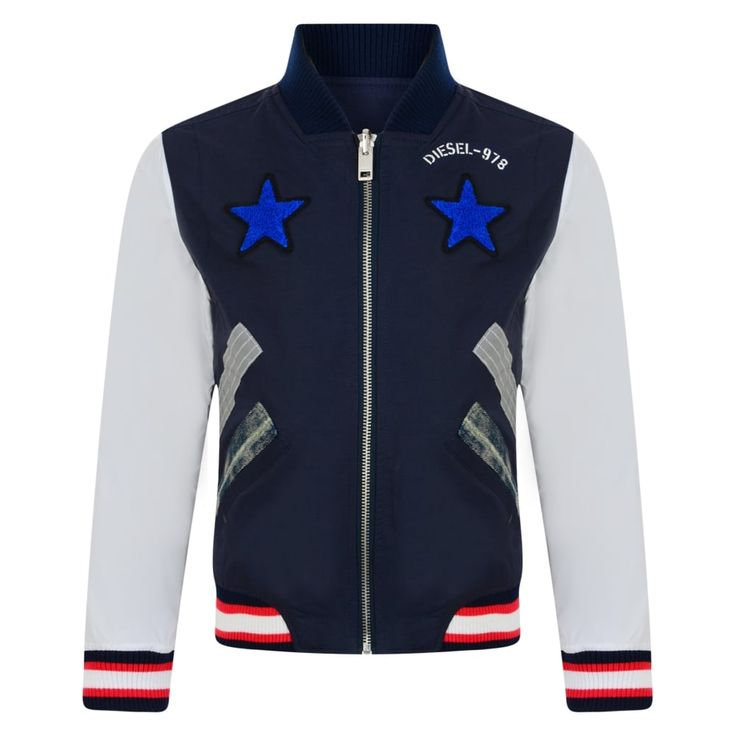 Boys Green and Blue Reversible Bomber Jacket with White Sleeves