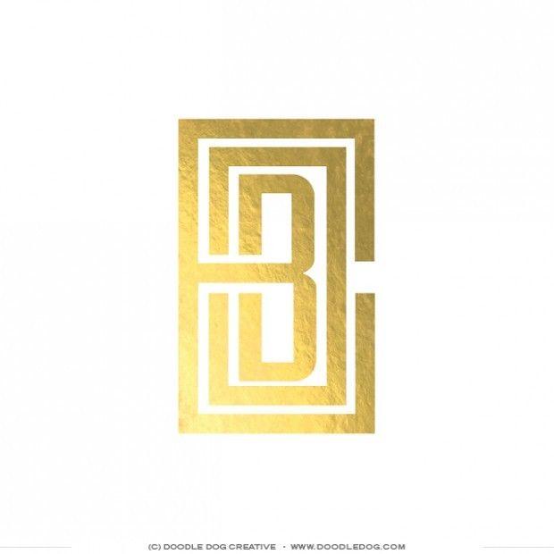 logo design, monogram design, gold foil logo, geometric logo, wedding industry brand, brand identity, florist, modern logo, Brand Identity and Website Design for Branching Out Floral by Doodle Dog Creative, www.doodledog.com