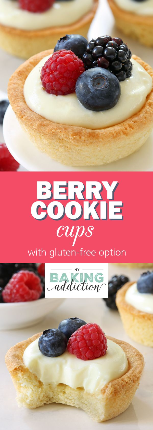 Berry Cookie Cups have a sweet cookie crust and white chocolate cream cheese filling! Fresh, juicy berries make them perfect for summer! Recipe contains gluten-free option. from @bakingaddiction