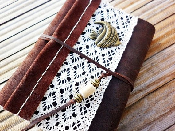 Leather Journal Romantic Style Handbound Notebook OOAK Diary,  Ready to Ship