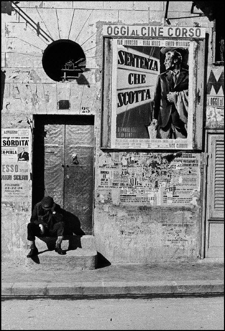 Ferdinand Scianna.  Poster for a movie, Bagheria, Sicily, 1961.
