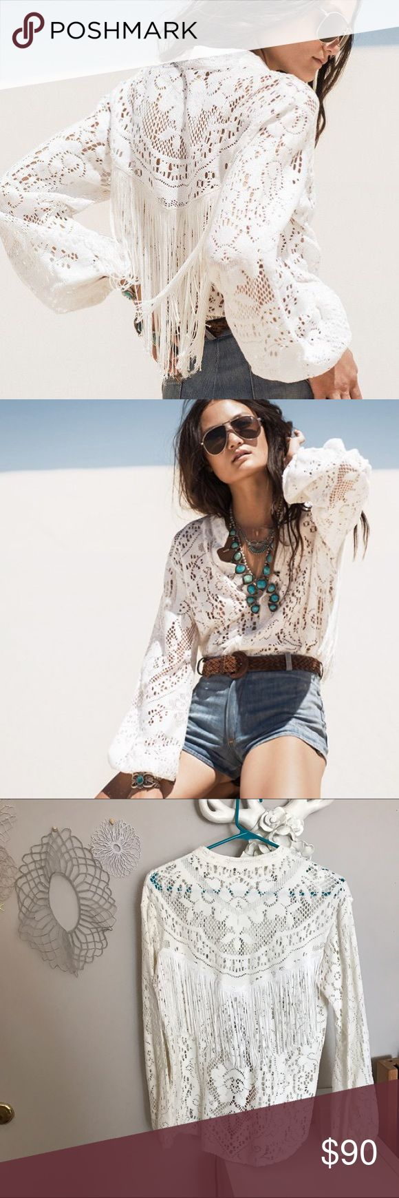 Spell Fringe Blouse Spell and the gypsy collective button down fringe crochet top. Worn once Spell & The Gypsy Collective Tops Blouses