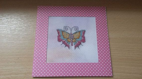 Handmade Cross Stitched Card Butterfly Any Occasion by Myacecraft, £4.00