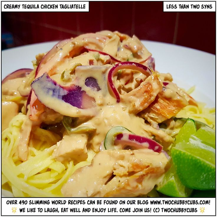 PLEASE LIKE AND SHARE! This lovely chicken dish is a winner! Perfect creamy tequila chicken tagliatelle - you can leave out the booze if you like, but they make it so tasty! Tonnes more Slimming World meals - over 450 at the last count - all sorted by syn and ingredient. Plus: we're pretty funny, apparently. Come and see!