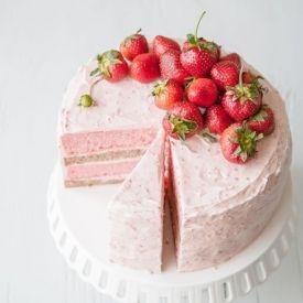 Strawberry-Banana Milkshake Cake