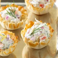CRAB TARTLETS - made with refrigerated biscuit dough, crab meat, cream cheese, mayo, cheddar & parm cheese,