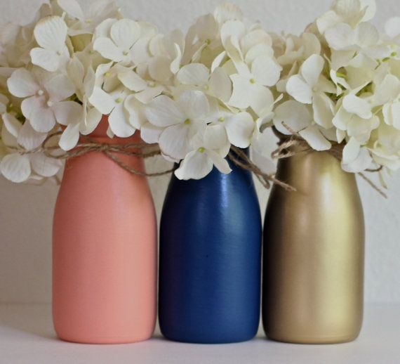 Navy Coral Gold Nursery Decor Baby Shower painted milk bottles by HalfPintPMB on Etsy