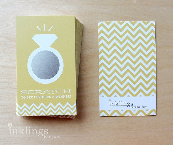 24 Scratch Off Cards for Bridal Shower or Bachelorette Game / Diamond Ring in Sunny Yellow. $12.00, via Etsy.