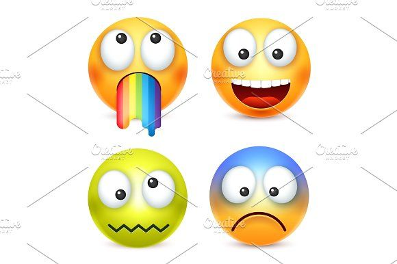 Smiley set, crazy,happy emoticon. Yellow face with emotions. Facial expression. 3d realistic emoji. Funny cartoon character.Mood. Web icon. Vector illustration. Graphics Smiley set, crazy,happy emoticon. Yellow face with emotions. Facial expression. 3d realistic emoji by 32pixels