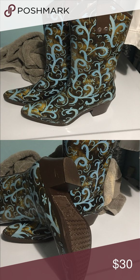 Beautiful cowboy rain boots size 7.5 These are beautiful and brand new. I have to have foot surgery and cannot wear heels.  Had to have them...but my loss is your gain! Shoes Winter & Rain Boots