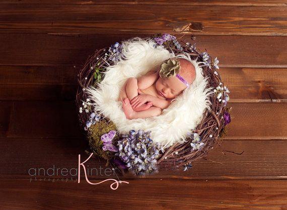 Photographyprop newborn nest with flowers fur matching headband nest can be props for newborn photographyphotography