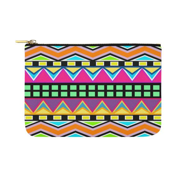 Multi Coloured Chevron and Squares Canvas Clutch Bag by nantulov