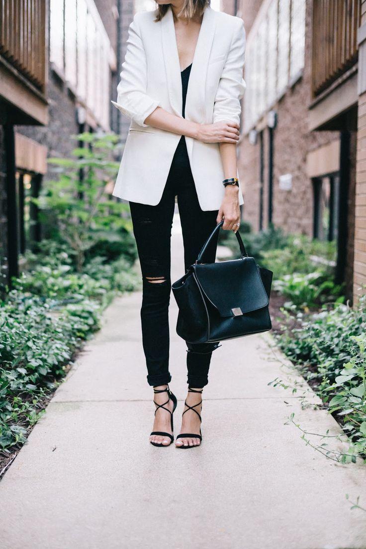 white blazer black jeans outfit
