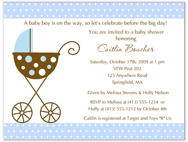stroller fun boy blue polka dots baby shower invitations 100 each httpwww
