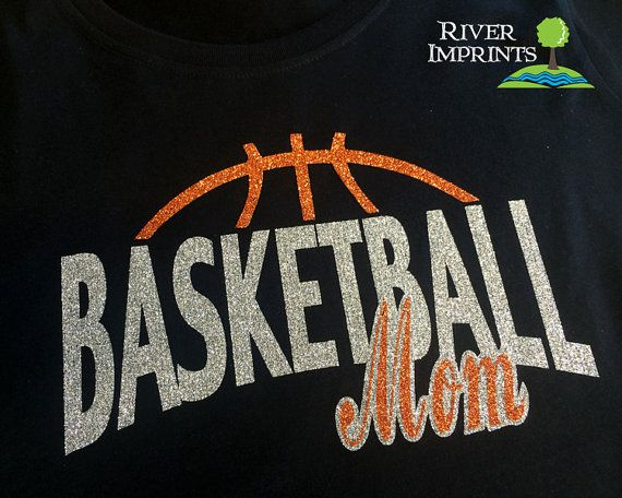 BASKETBALL MOM, sparkly Basketball glitter shirt - Choose your colors! #riverimprints #etsy #mom #basketball
