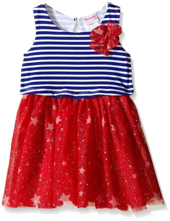 377ed04af53 NANNETTE Girls Patriotic Star Stripe Popover Mesh Skirt Dress Red White Blue  4 6