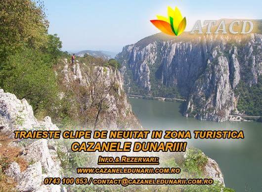Aceasta atractie turistica din Romania se intinde pe o lungime de cca. 50 km de-a lungul malului nordic al Dunarii, intre localitatile Svinita, in amonte si Orsova in aval, strabatand si localitatile Dubova, situata in Cazanele Mari si Eselnita, ce se intinde de la iesirea Dunarii din Cazanele Mici, de la confluenta vaii Mraconiei cu Dunarea, unde strajuieste semet chipul sculptat in stanca al regelui dac Decebal. Detalii pe http://www.cazaneledunarii.com.ro/