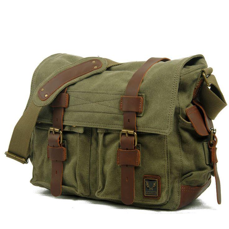 "Men's Military Canvas Leather Satchel School 14"" Laptop Shoulder Messenger Bag   eBay"