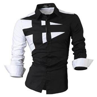 jeansian Uomo Camicie Maniche Lunghe Moda Men Shirts Slim Fit Casual Long Sleves Fashion 8397 Black XL