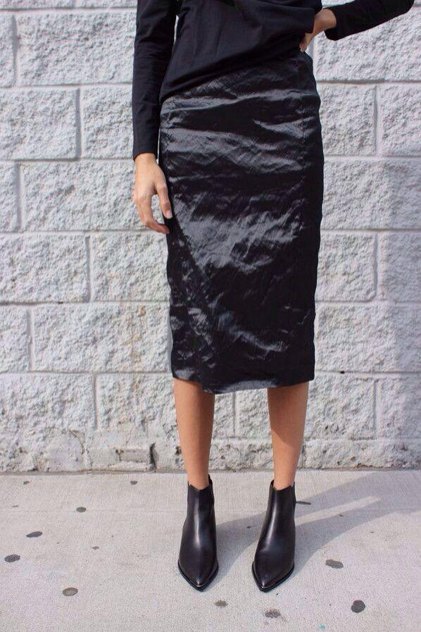 black shirt + black silk midi skirt + black booties