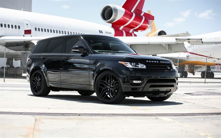 Download wallpapers Rover Range Sport, luxury black SUV, tuning, British cars, 2017, airport, passenger plane, Land Rover