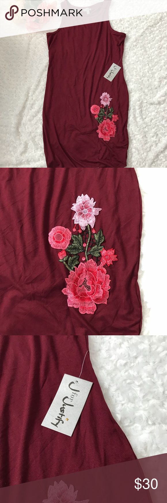 ❣️ J Justify TEE tank Maroon dress ❣️ ❣️ J Justify TEE tank Maroon dress ❣️ I wish you could feel how soft this material is! New with tags tee shirt DRESS. Beautiful maroon color with flower accent on the bottom. Tank sleeves. Perfect for a casual Saturday outfit, or a Sunday baby shower! J for Justify Dresses Midi