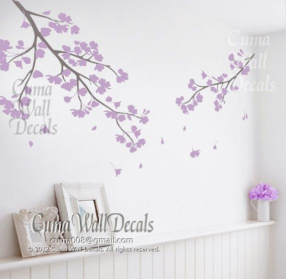 Lilac Cherry Blossom Wall Decals Vinyl Floral Wall Sticker Tree Nursery  Wall Mural Children Girl Nursery Cherry Blossom By Cuma Wall Decals Part 91
