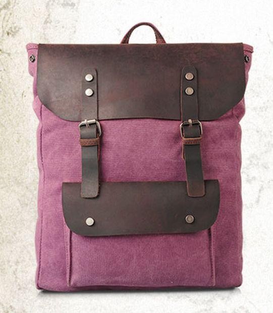 genuine leather canvas backpack back bag