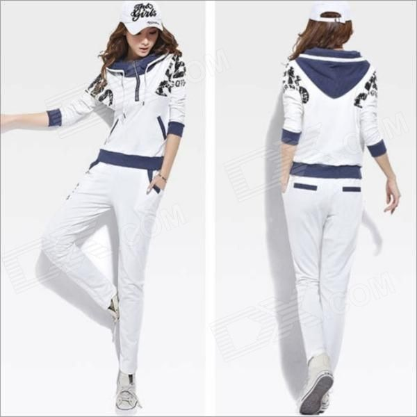 Brand: N/A; Model: 1088; Quantity: 1; Color: White; Material: Cotton; Gender: Women; Suitable for: Adults; Style: Casual; Size: XL; Shoulder Width: 40 cm; Chest Girth: 100 cm; Waist Girth: 90 cm; Sleeve Length: 61 cm; Total Length: 62 cm; Suitable for Height: 160-170 cm; Features: New fashion women's leisure sports clothes of big yards; Keywords: New fashion women's leisure sports clothes of big yards -White-(size XL); Packing List: 1 x Coat1 x Trousers; http://j.mp/1ljSm1F