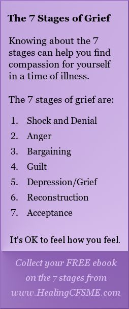 Collect your FREE ebook on the 7 stages from www.HealingCFSME.com #healing #illness #health #grief #mourning #change