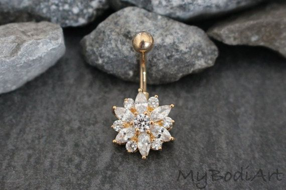 Belly Button Ring Stud Gold Belly Ring Navel Ring by MyBodiArt