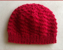 Babys 8ply textured pattern knitted beanie.