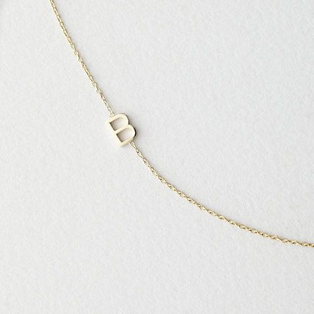 Asymmetrical Mini Letter Necklace - B by Maya Benner Designs. 220.