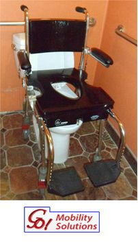 """The Go-Anywhere portable Commode, Shower 'n Tub Chair® is a portable shower chair that consists of two sections: The rolling section has four, 5""""-diameter casters, which enables its occupant to be wheeled from his or her bed to over the toilet and into a roll-in shower. FEATURES: Safe and easy to use - Simple to assemble; no tools are required - Adjustable heights for seat & footrest - Rust and corrosion resistant - 30-day Trial Period - Tax FREE! {Price: $ 1,695.00} CALL: 800.359.4021"""