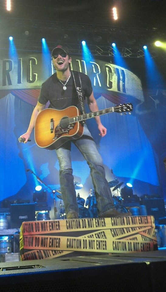 Eric Church!!! Finally saw my number one in concert!!! And we were so close! Right against the stage...I just melted every time he looked at me :)