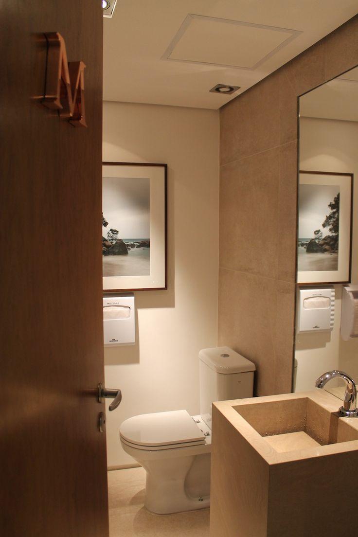 Toilette masculina - projeto corporativo de RF Design de Interiores