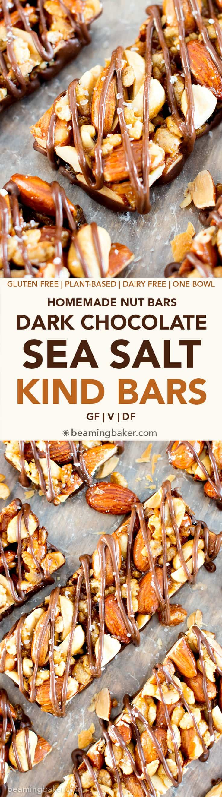 Homemade Dark Chocolate Sea Salt KIND Nut Bars (V, GF, DF): a protein-rich recipe for homemade KIND bars drizzled in dark chocolate and sprinkled with sea salt. BeamingBaker.com