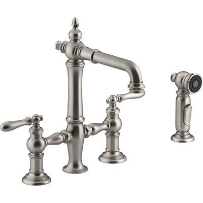 Kohler Artifacts Double Handle Instant Hot Water Dispenser With Side Spray Finish Vibrant Stainless
