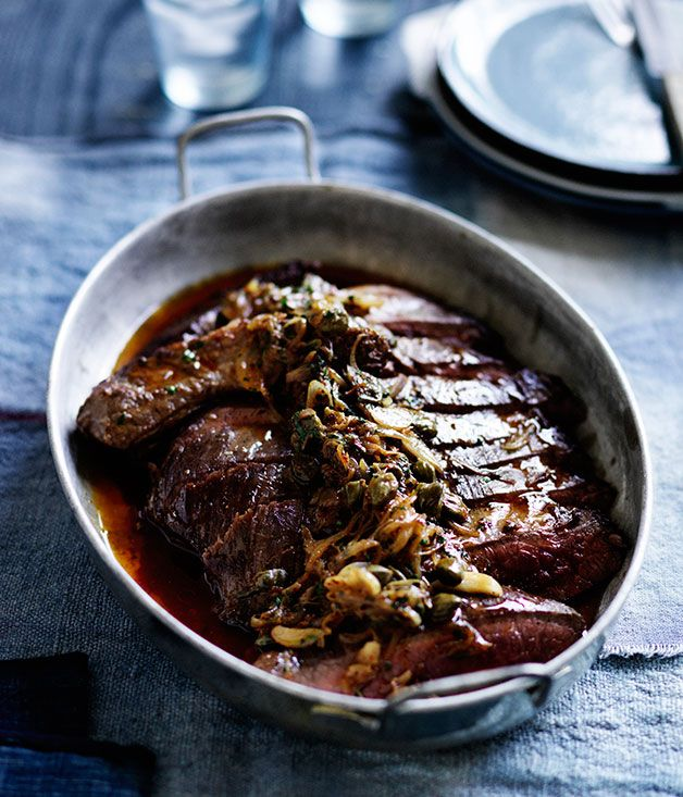 Australian Gourmet Traveller recipe for bavette with smoked-anchovy butter.