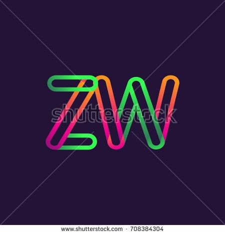 initial logo letter ZW, linked outline colorful rounded logotype.